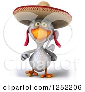 Clipart Of A 3d White Mexican Chicken Walking Royalty Free Illustration