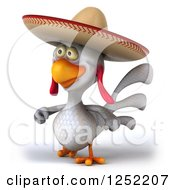 Clipart Of A 3d White Mexican Chicken Walking 2 Royalty Free Illustration by Julos