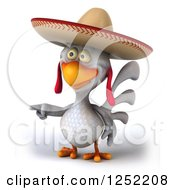 Clipart Of A 3d White Mexican Chicken Pointing Royalty Free Illustration by Julos