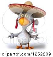 Clipart Of A 3d White Mexican Chicken Shrugging Royalty Free Illustration by Julos