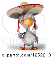 Clipart Of A 3d White Mexican Chicken Holding A Thumb Up Royalty Free Illustration by Julos