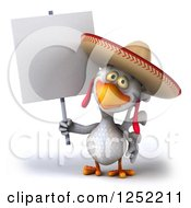 3d White Mexican Chicken Holding A Blank Sign