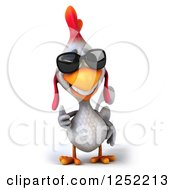 Clipart Of A 3d White Chicken Wearing Sunglasses And Holding A Thumb Up Royalty Free Illustration