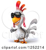 Clipart Of A 3d White Chicken Wearing Sunglasses And Holding A Thumb Up 2 Royalty Free Illustration