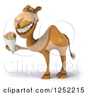 Clipart Of A 3d Camel Holding French Fries Royalty Free Illustration