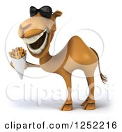 Clipart Of A 3d Camel Wearing Sunglasses And Holding French Fries Royalty Free Illustration