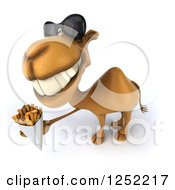 Clipart Of A 3d Camel Wearing Sunglasses And Holding French Fries 2 Royalty Free Illustration