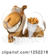 Clipart Of A 3d Camel Holding French Fries Over A Sign Royalty Free Illustration