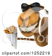 Clipart Of A 3d Camel Wearing Sunglasses And Holding French Fries Around A Sign Royalty Free Illustration