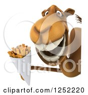Clipart Of A 3d Camel Holding French Fries Around A Sign Royalty Free Illustration