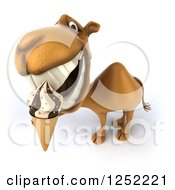 Clipart Of A 3d Camel Eating An Ice Cream Cone Royalty Free Illustration