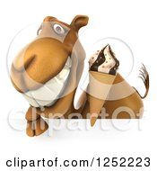 Clipart Of A 3d Camel Holding An Ice Cream Cone Over A Sign Royalty Free Illustration