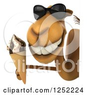 Clipart Of A 3d Camel Wearing Sunglasses And Holding An Ice Cream Cone Over A Sign Royalty Free Illustration