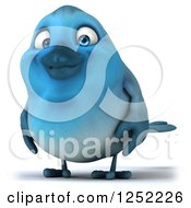 Clipart Of A 3d Blue Bird 2 Royalty Free Illustration
