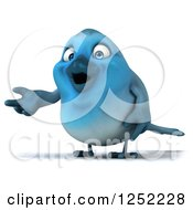 Clipart Of A 3d Blue Bird Presenting Royalty Free Illustration