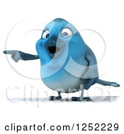 Clipart Of A 3d Blue Bird Pointing Royalty Free Illustration