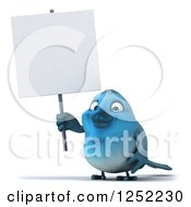 Clipart Of A 3d Blue Bird Holding A Blank Sign Royalty Free Illustration