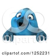 Clipart Of A 3d Blue Bird Over A Sign Royalty Free Illustration