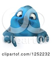Clipart Of A 3d Blue Bird Pointing Down Over A Sign Royalty Free Illustration