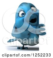 Clipart Of A 3d Blue Bird Pointing Around A Sign Royalty Free Illustration