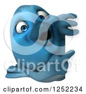 Clipart Of A 3d Blue Bird Pointing Around A Sign 2 Royalty Free Illustration