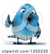 Clipart Of A 3d Blue Bird Holding A Thumb Up Royalty Free Illustration