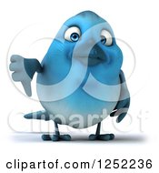 Clipart Of A 3d Blue Bird Holding A Thumb Down Royalty Free Illustration