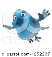 Clipart Of A 3d Blue Bird Flying Royalty Free Illustration