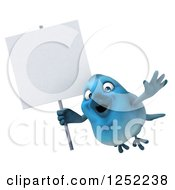 Clipart Of A 3d Blue Bird Flying With A Blank Sign Royalty Free Illustration
