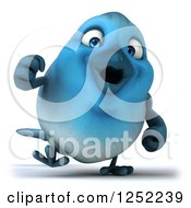 Clipart Of A 3d Blue Bird Walking Royalty Free Illustration
