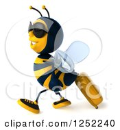 Clipart Of A 3d Traveling Bee Wearing Sunglasses And Walking With A Rolling Suitcase Royalty Free Illustration