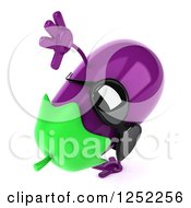 Clipart Of A 3d Aubergine Eggplant Wearing Sunglasses And Doing A Hand Stand Royalty Free Illustration