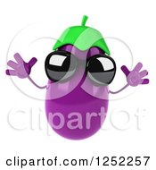 Clipart Of A 3d Aubergine Eggplant Wearing Sunglasses And Jumping Royalty Free Illustration