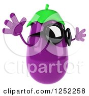 Clipart Of A 3d Aubergine Eggplant Wearing Sunglasses And Jumping 2 Royalty Free Illustration