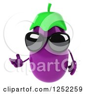 Clipart Of A 3d Aubergine Eggplant Wearing Sunglasses And Presenting Royalty Free Illustration