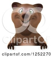 Clipart Of A 3d Brown Bear Over A Sign Royalty Free Illustration by Julos