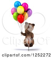 Clipart Of A 3d Brown Bear Riding A Bike With Party Balloons Royalty Free Illustration
