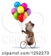 Clipart Of A 3d Brown Bear Riding A Bike With Party Balloons 2 Royalty Free Illustration