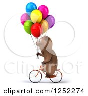 Clipart Of A 3d Brown Bear Riding A Bike With Party Balloons 3 Royalty Free Illustration
