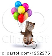 Clipart Of A 3d Brown Bear Riding A Bike With Party Balloons 4 Royalty Free Illustration