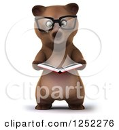 Clipart Of A 3d Bespectacled Brown Reading A Book Royalty Free Illustration