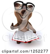 Clipart Of A 3d Bespectacled Brown Reading A Book And Holding A Thumb Up Royalty Free Illustration