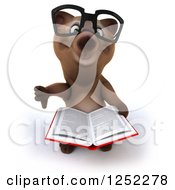 Clipart Of A 3d Bespectacled Brown Reading A Book And Holding A Thumb Down Royalty Free Illustration