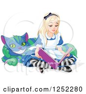 Clipart Of Alice In Wonderland Reading A Book With The Cheshire Cat Royalty Free Vector Illustration by Pushkin
