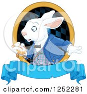 Clipart Of The White Rabbit Of Wonderland Looking At His Watch Over A Blue Banner Royalty Free Vector Illustration by Pushkin