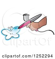 Clipart Of A Hand Airbrushing A Butterfly Royalty Free Vector Illustration by Lal Perera