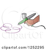 Clipart Of A Hand Airbrushing A Swirl Royalty Free Vector Illustration by Lal Perera