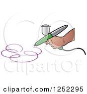 Hand Airbrushing A Swirl
