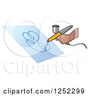 Clipart Of A Hand Airbrushing A Swirl On Paper Royalty Free Vector Illustration by Lal Perera