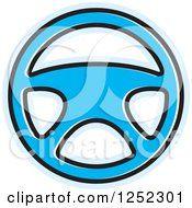 Clipart Of A Blue Steering Wheel Royalty Free Vector Illustration by Lal Perera
